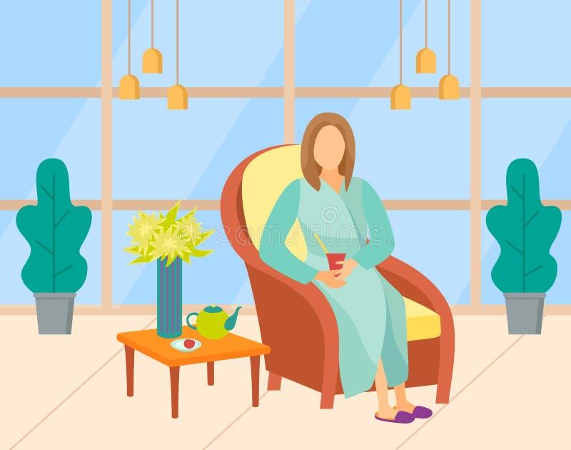 Spa ou salon de beauté, vecteur de thé pour femme illustration libre de droits