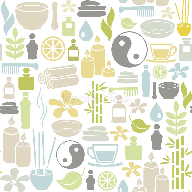 Spa pattern. Seamless pattern with colorful spa icons