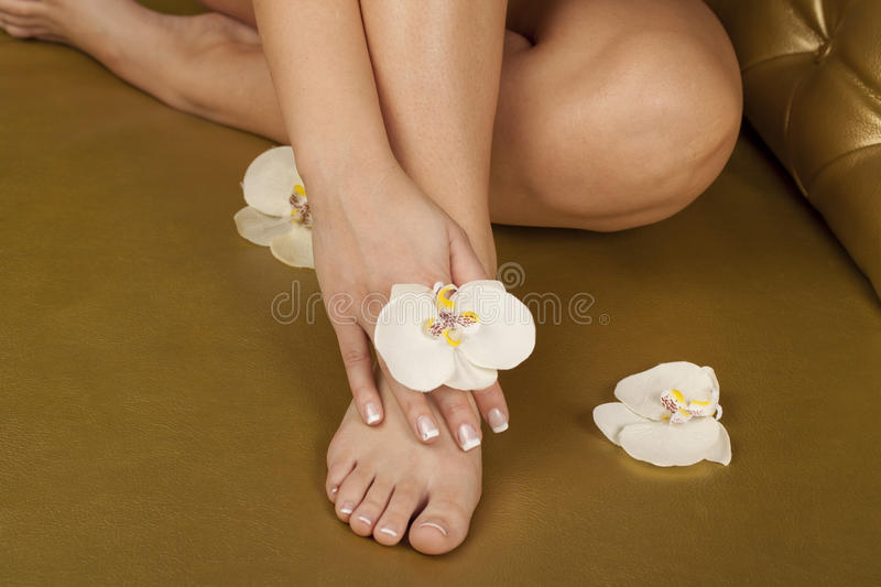 SPA pedicure and manicure stock photo