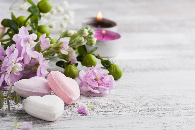 Spa products with bath bombs stock photo