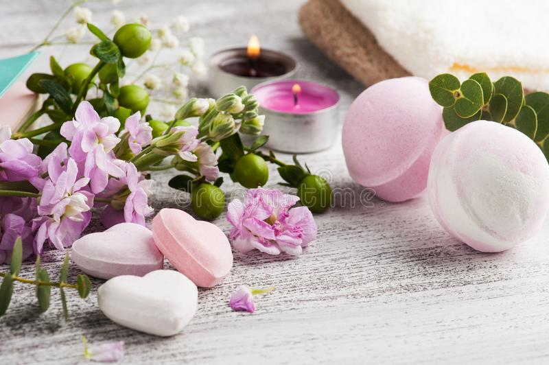 Spa products with bath bombs royalty free stock image