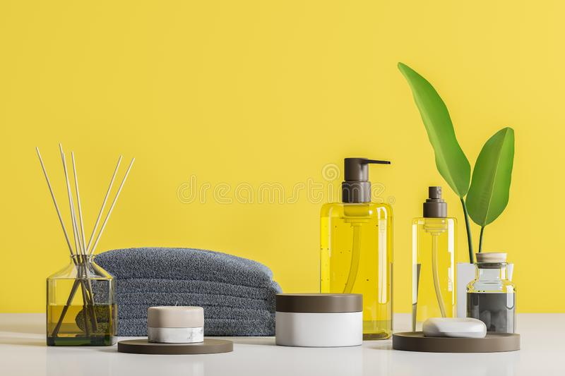 Spa products and creams on table over yellow. Transparent bottles with soap and spa products in white mock up containers. Aroma sticks and stack of gray towels stock illustration