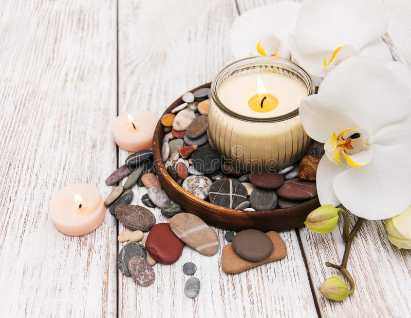 Spa products with orchids stock photos