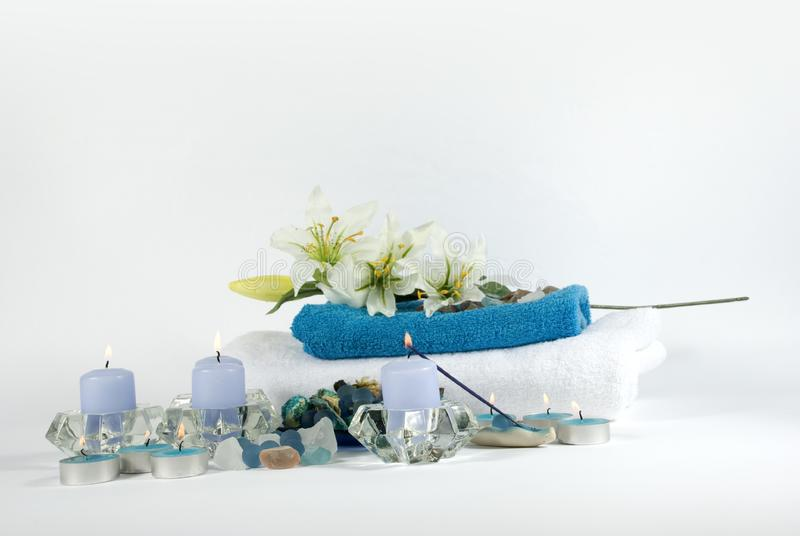 Spa products on white and blue royalty free stock photography