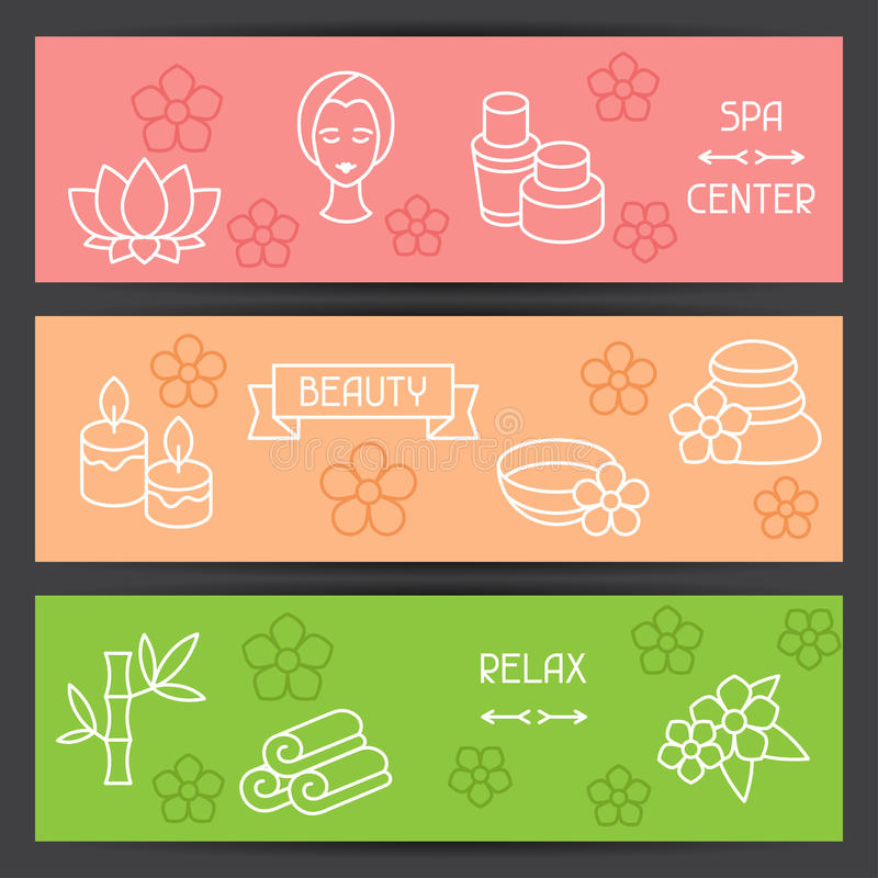 Spa and recreation banners with icons in linear.
