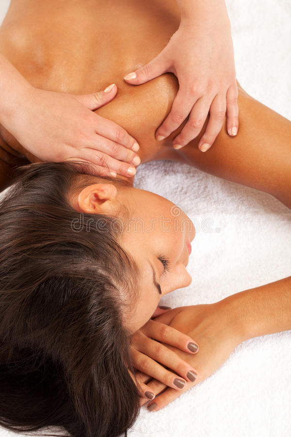 Spa relax. Relaxed girl on spa procedure royalty free stock photography