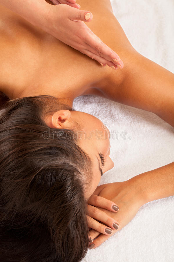 Spa relax. Relaxed girl on spa procedure stock photo