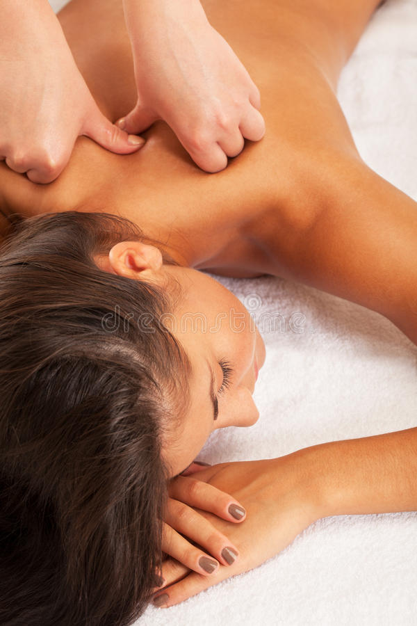 Spa relax. Relaxed girl on spa procedure stock photography
