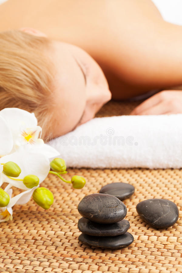 Spa relax. Girl relaxing in Spa center royalty free stock photos