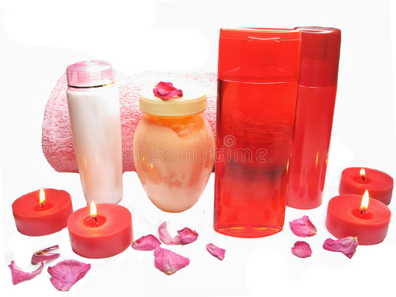 Download Spa Rose Petals Cremes Shampoo Shower Gel Bottles Stock Photography - Image: 22588292