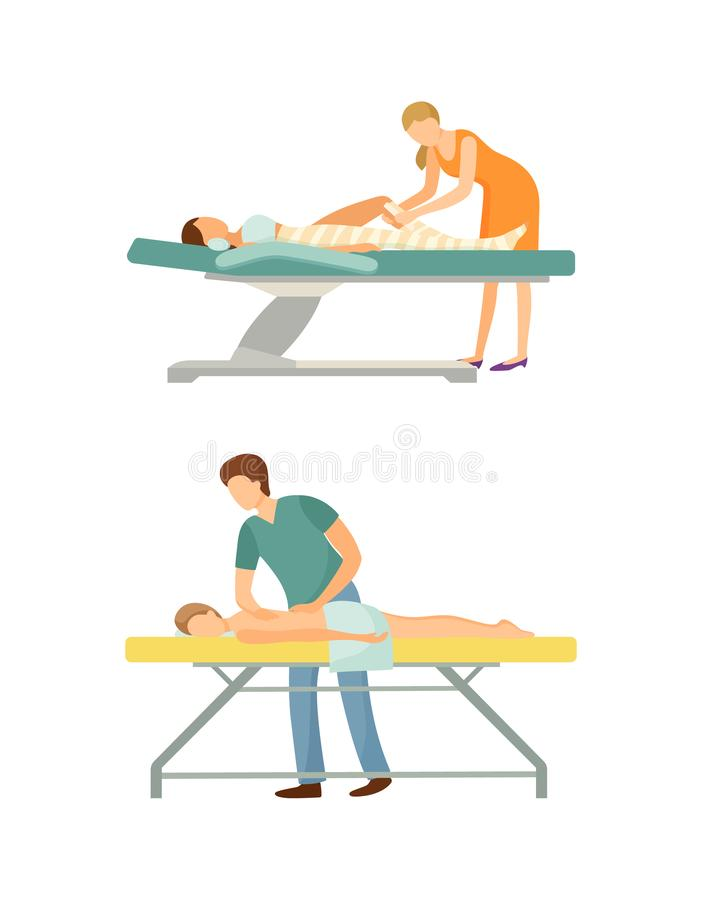 Spa Salon Body Wrap Procedure Massage by Masseur. Spa salon, body wrap done by experienced specialist expert. Massage procedure by professional masseur and royalty free illustration