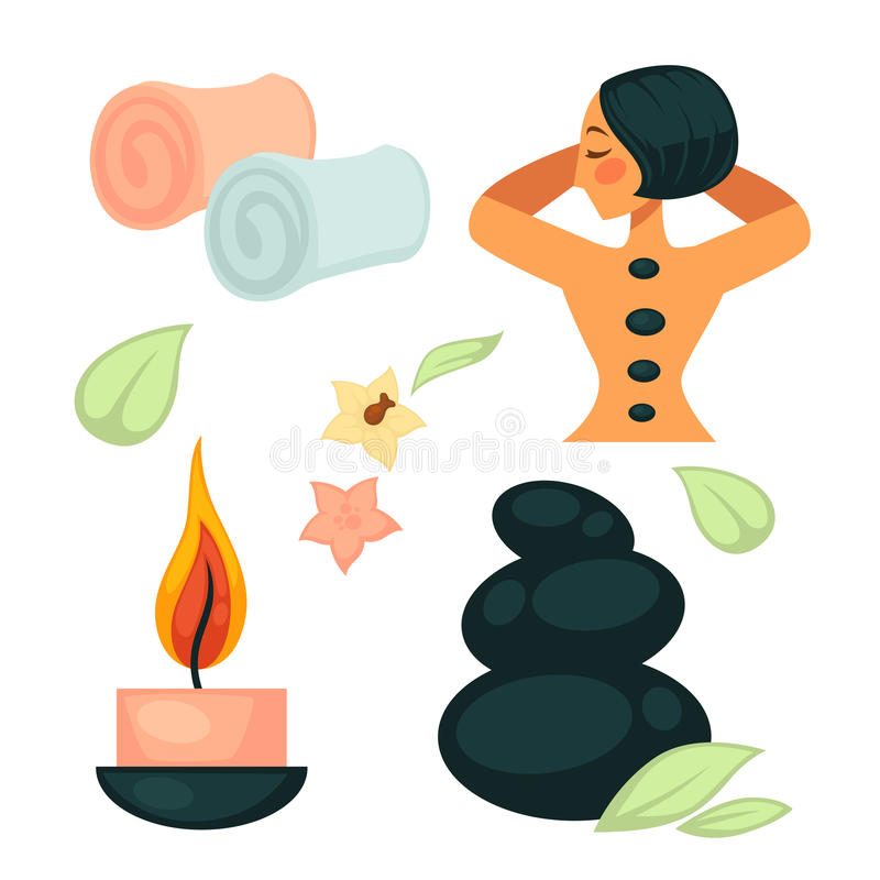 Spa salon poster with relaxing woman and necessary tool royalty free illustration
