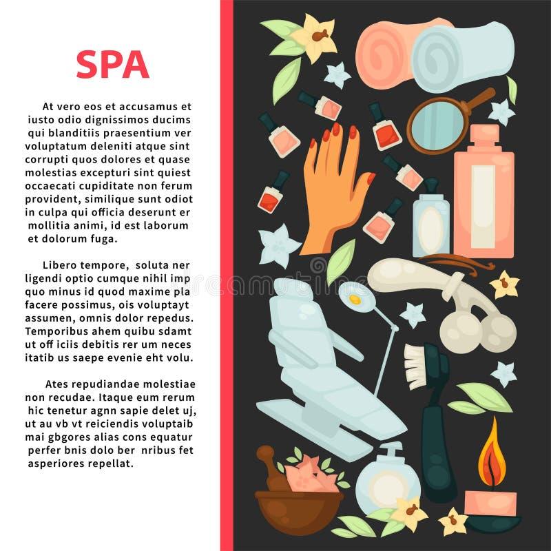 Spa salongaffisch med utrustning för skönhettillvägagångssätt stock illustrationer