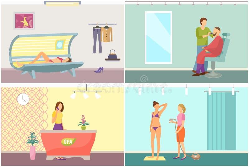 Spa salongmottagande och garva solariumvektorn royaltyfri illustrationer