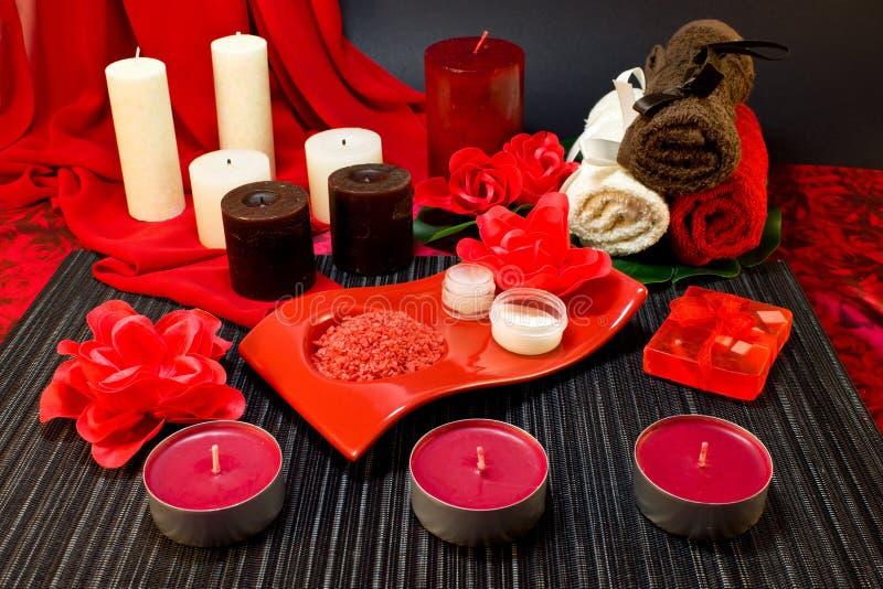 Spa sammansättning i röda färger royaltyfri foto