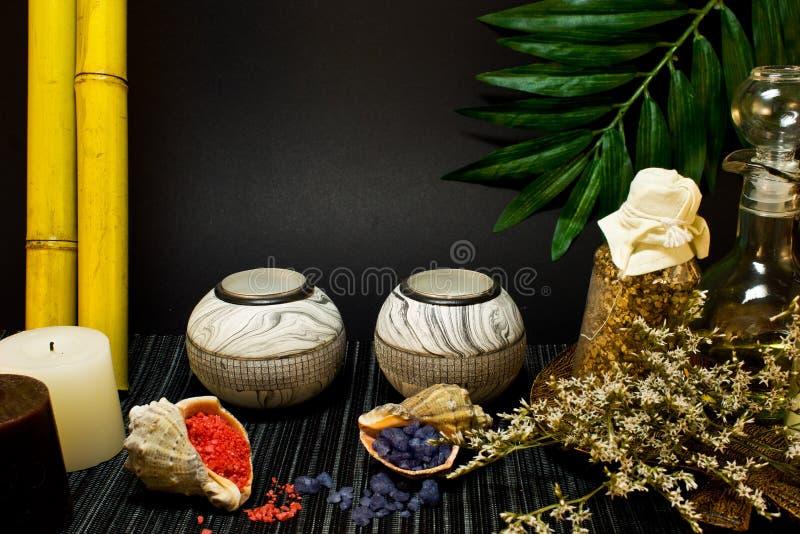 Spa sammansättning med bambu fotografering för bildbyråer