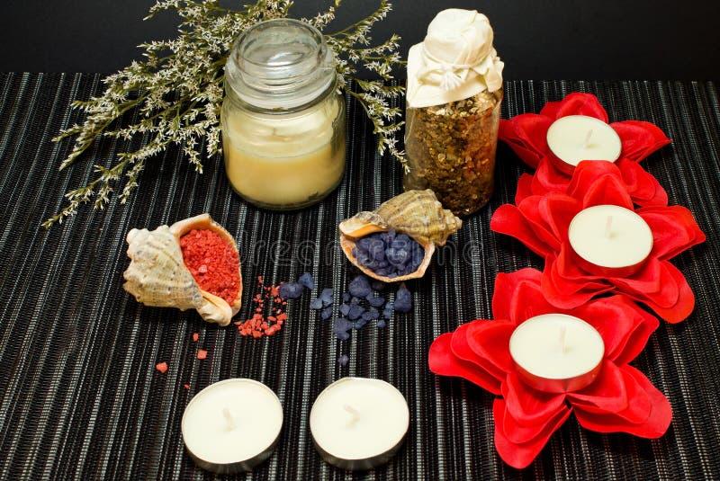 Spa sammansättning med salt för bad i skal royaltyfri fotografi