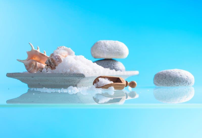 Spa sammansättning med skal och salt hav royaltyfri bild