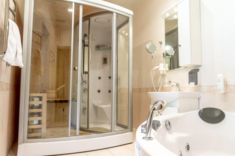 Spa Sauna Cabin In Bathroom House Hotel Stock Image