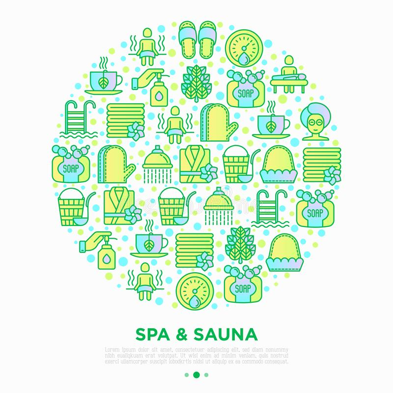 Spa & sauna concept in circle with thin line icons: massage oil, towels, steam room, shower, soap, pail and ladle, hygrometer, vector illustration