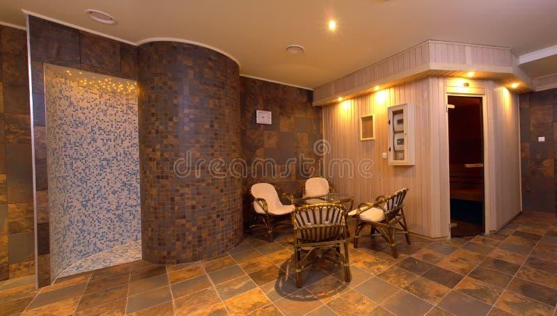 Spa sauna interior decor stock photos