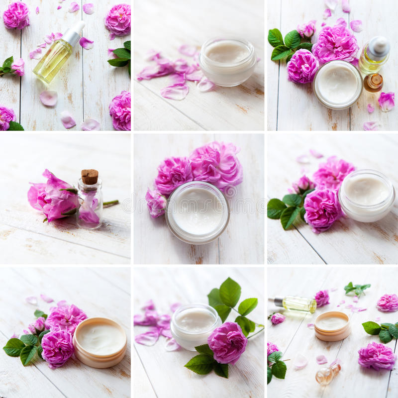 Spa series. Collage of wellness products stock images