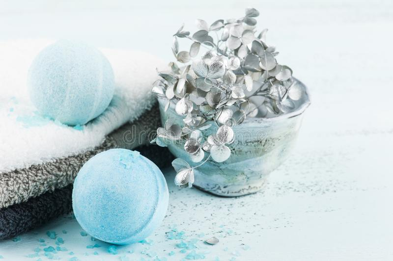 Spa set with blue bath bombs. And towels royalty free stock images