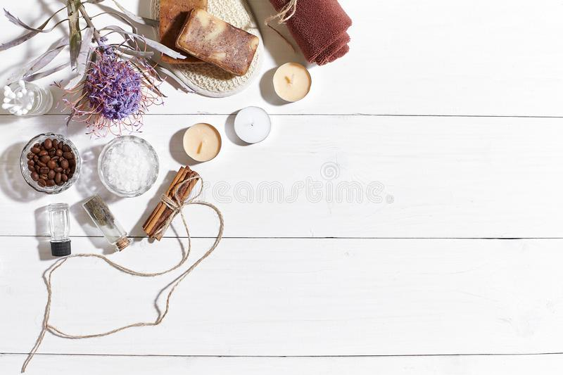 Download Spa Set With Sea Salt, Essential Oil, Soap And Towel Decorated With Dry Flower On White Wooden Background Stock Image - Image of fragrant, cosmetic: 101168761