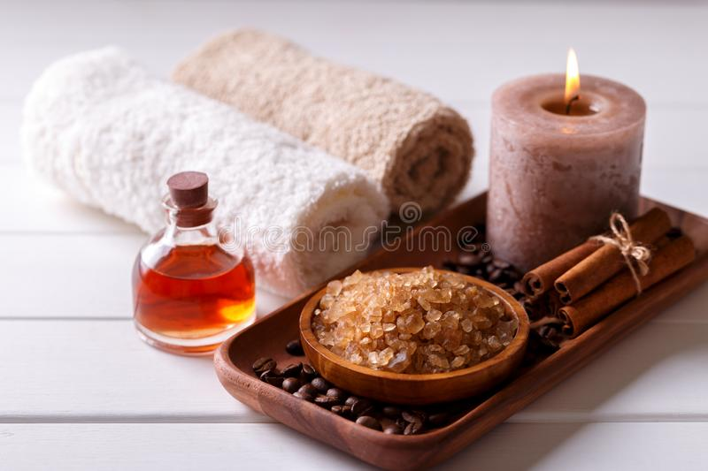 Spa setting with aromatic candle stock image