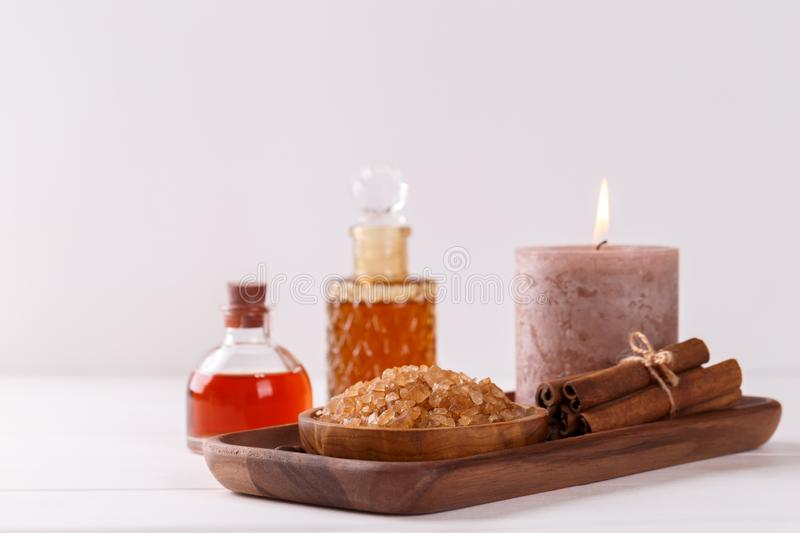 Spa setting with aromatic coffee candle royalty free stock images