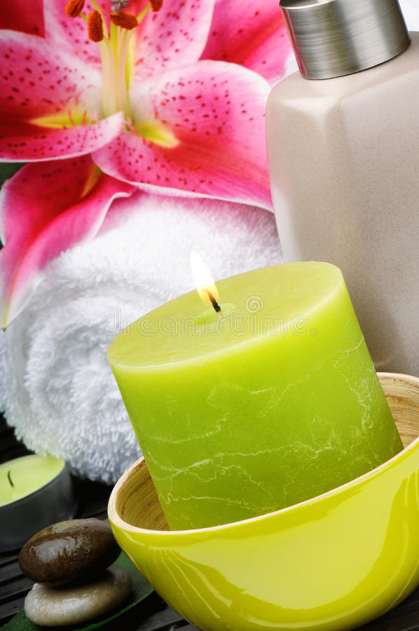 Spa setting with candle stock image