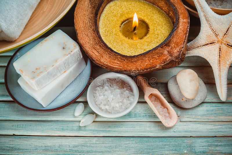 Spa setting with coconut oil, royalty free stock photo