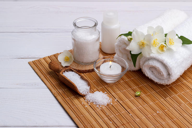 Spa setting and health care items stock photos