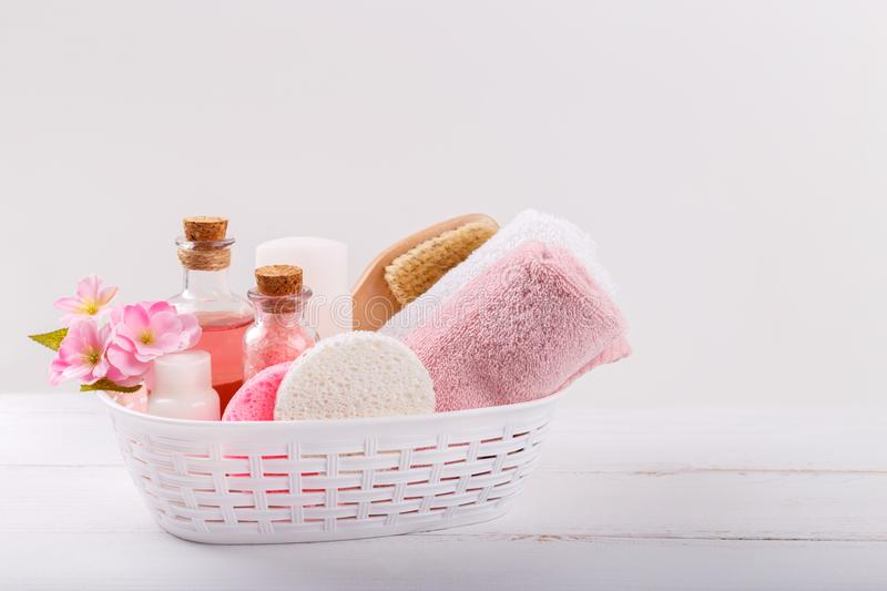 Spa setting and health care items. Pink Spa setting and health care items on white background. Space for text stock image