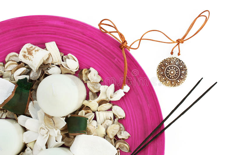 Download Spa Setting With Medallion, Candles, Flowers Stock Photography - Image: 24778802