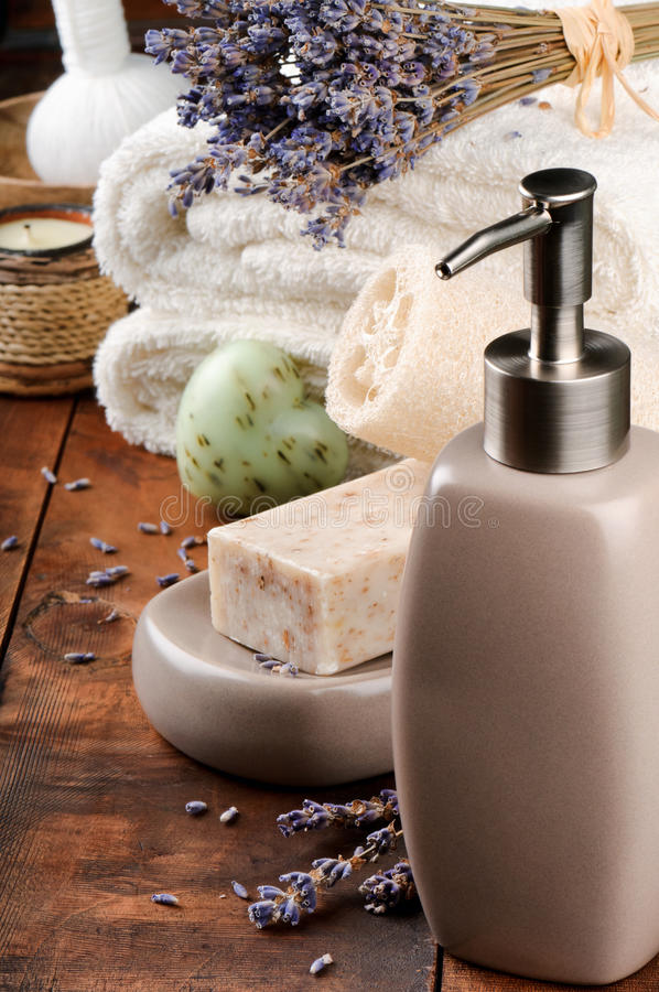 Download Spa Setting With Natural Soap And Lavender Stock Photo - Image: 26607820