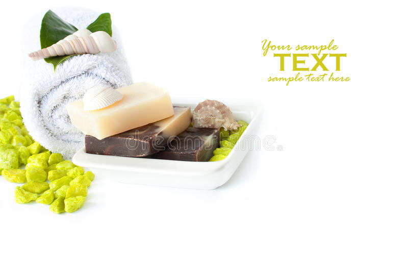 Download Spa Setting With Natural Soaps And Shampoo Stock Photo - Image: 16490264