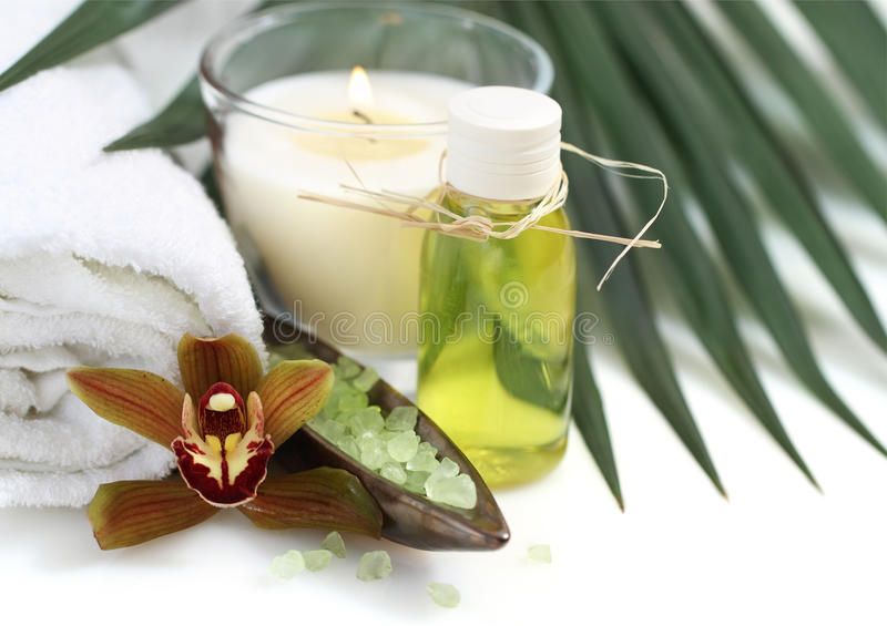 Spa setting with orchid stock photography