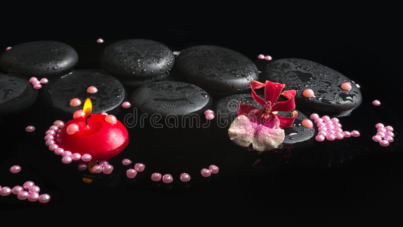 Spa setting of orchid cambria flower on zen stones with drops stock photography
