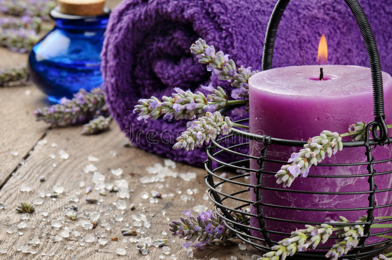 Spa setting in purple tone stock photos