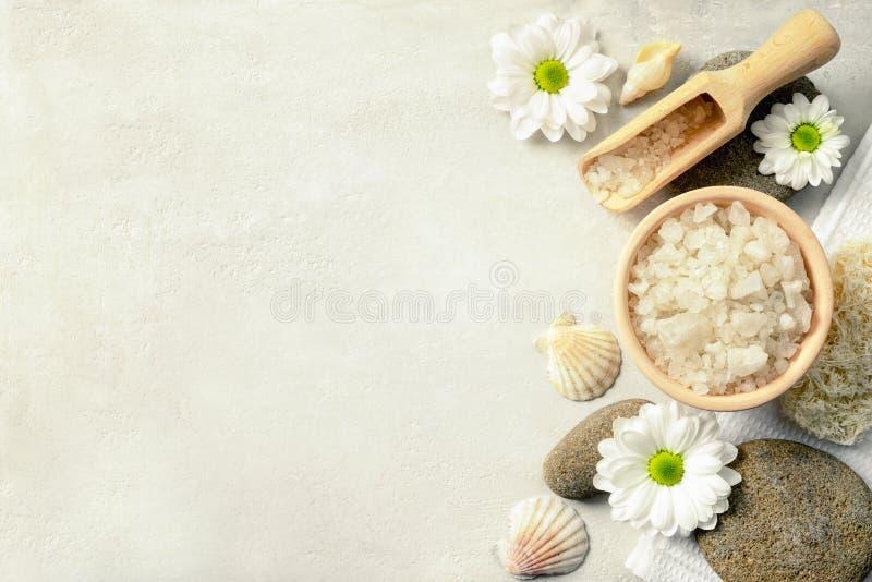 Spa setting with sea salt stock image