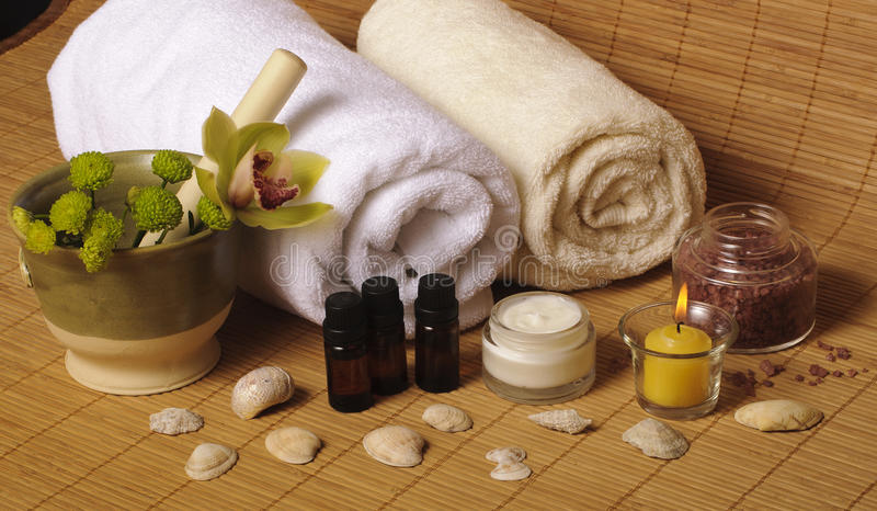 Download Spa setting with seashells stock photo. Image of essential - 18761608