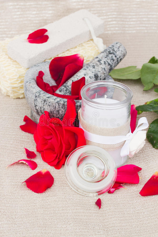 Download Spa Settings With Red Roses Stock Photo - Image: 33601192