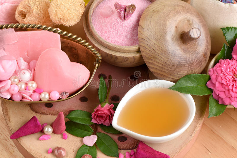Spa skin with soap, honey and olive oil. From natural raw materials stock photography