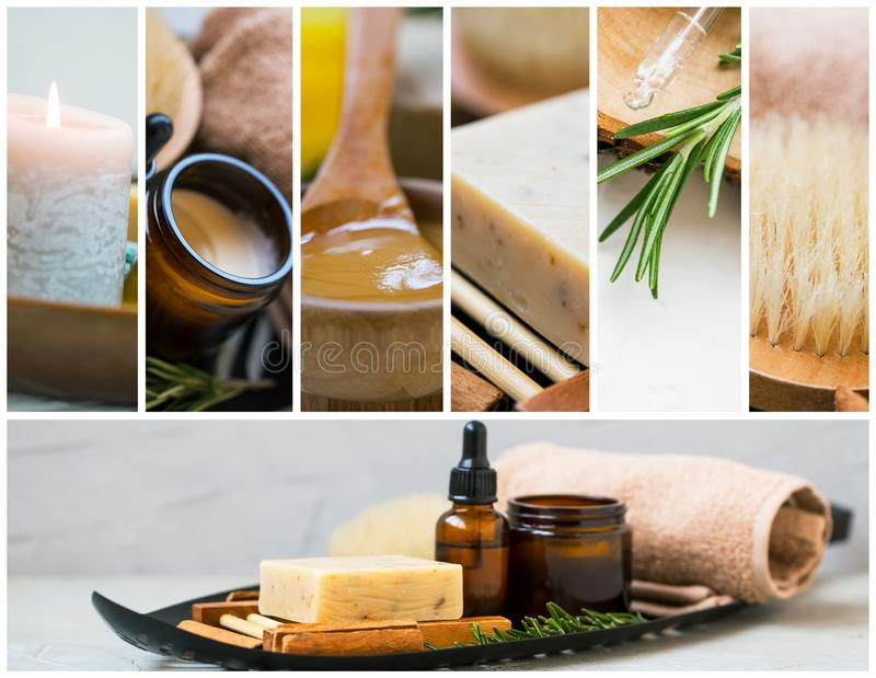 Spa and skincare collage with candle, products, essential oils and body care ingredients, spa and wellness royalty free stock photos