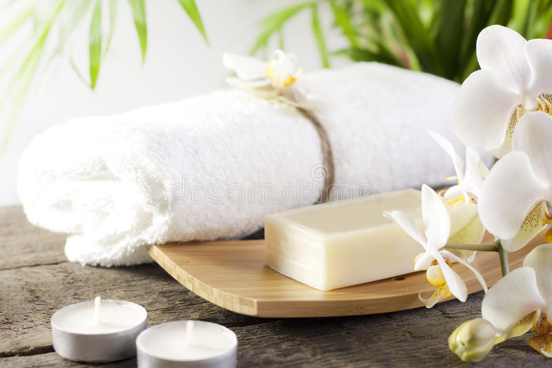 Spa Soap And Orchid Closeup Stock Image