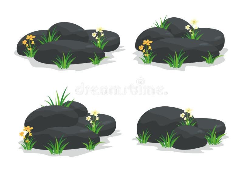 Spa stenar med blomman, gräs, bladet och blomman royaltyfri illustrationer