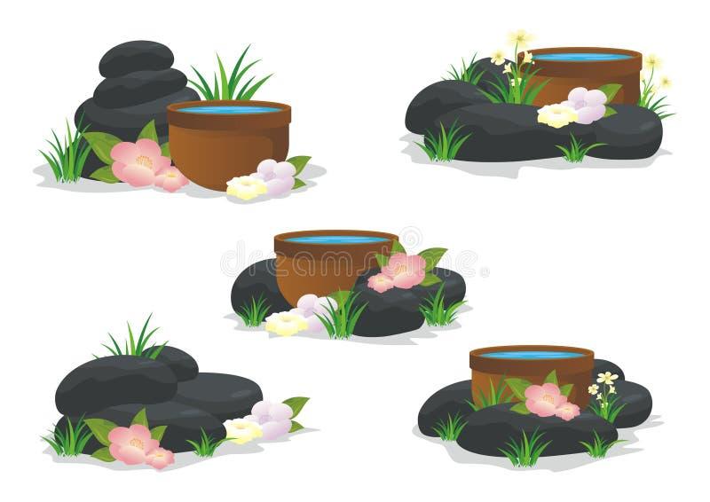 Spa stenar med blomman, gräs, bladet och vatten stock illustrationer