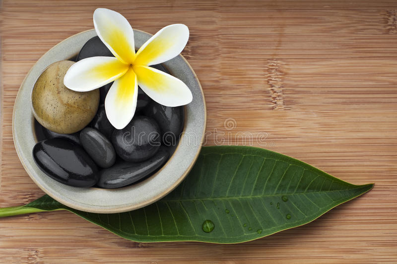 Spa still life background, with massage stones stock images