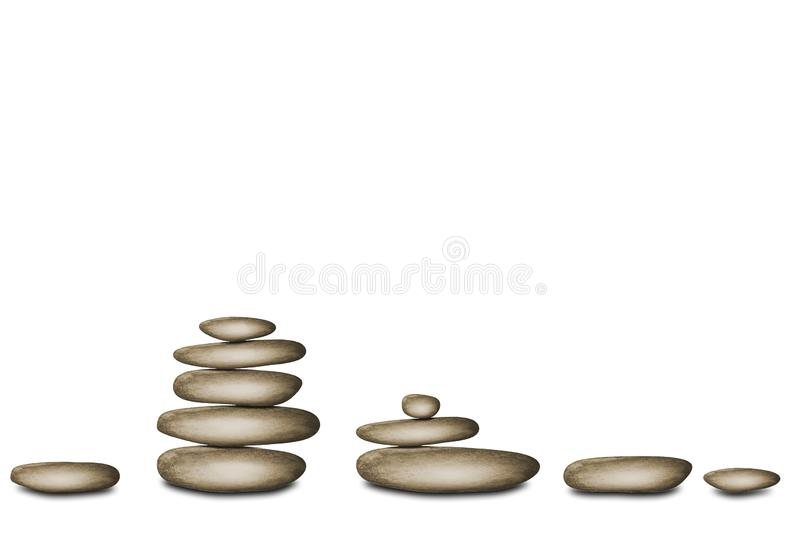 Spa still life background with zen stones on white background royalty free illustration